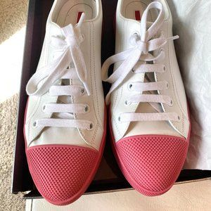 Prada White and Pink Sneakers
